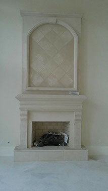 Beautiful Stone Fireplace Mantel ASD Surfaces Palm Beach